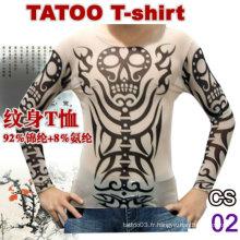 T-shirt de tatouage à manches longues pour femme 2016 à chaud