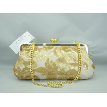 Light Gold Leave Printing Evening Bag (WLU12291-1)