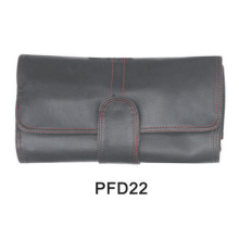 Black PU cosmetic pouch with buckle