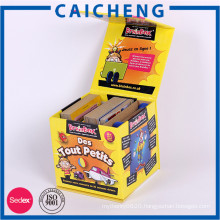 Lid hinged base with extend flap rigid paper print box for play card