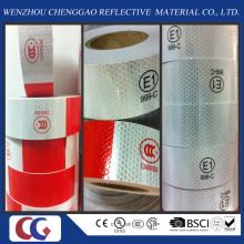 Fita reflexiva de PVC vermelho e branco com estrutura de cristal