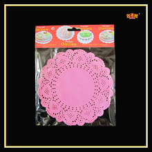 2015 hot selling 3.5 Inches pink cute round coloured paper doily