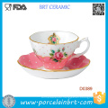 New Country Rose Solid Color Vintage Ceramic Teacup and Saucer