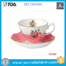 Taza de té y plato de cerámica de la vendimia del nuevo color rosa sólido del color