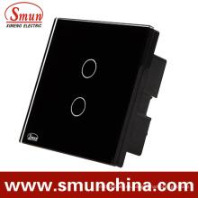 Interruptor del tacto de la pared de 2 cuadrillas, interruptor teledirigido ABS incombustible 1500W