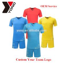 Personalice su logotipo al por mayor de alta calidad jersey de fútbol en blanco uniforme de fútbol kit