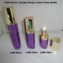 Triangle Shape Purple Cream Press Bottle 15ml 30ml 50ml