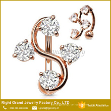 CZ Edelsteine Rose Gold Plated Top Down Bauchnabel Ring / Reverse Nabel Ring