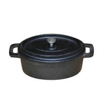 Cocotte de hierro fundido con forma ovalada y pretemporada mini con tapa