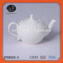 Tetera de porcelana blanca 650ml, tetera de cerámica en relieve con tapa, tetera en relieve
