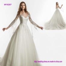 Long Sleeves V Neck Princess Wedding Dress