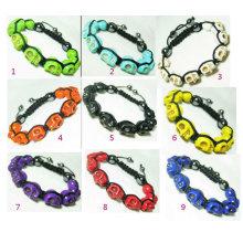 Bracelets à crâne turquoise bon marché Bracelets à crâne Shamballa BR50