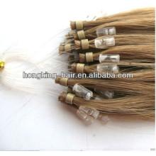 100% remy cheveux humains brun couleur micro boucle extension de cheveux