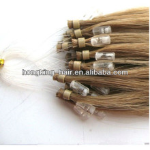 100% human remy hair brown color micro loop hair extension