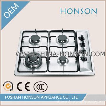 Allumage à impulsions intégré dans une plaque de cuisson à gaz en acier inoxydable à 4 brûleurs
