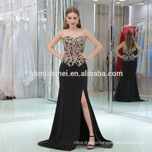 2017 factory supply cheap price real sample new bridal wedding gow off shoulder high slipt mermaid black evening dress wholesale