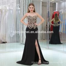 2017 поставкы фабрики дешевые цены реальный образец новый свадебный ГОУ плеча высокого slipt русалка черное вечернее платье оптом