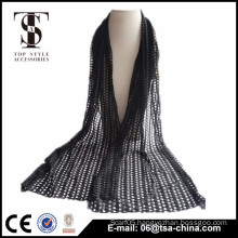 Hot selling black hollow out 31*159 cm scarf