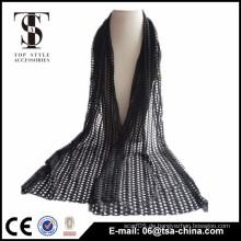Heißer verkaufender schwarzer hohler heraus 31 * 159 cm Schal