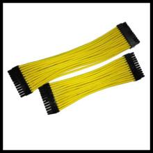 Harnais de câble de câble jaune 24 broches de 30cm à manches individuelles