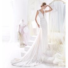 Vestido de casamento nupcial de sereia elegante Beading rendas