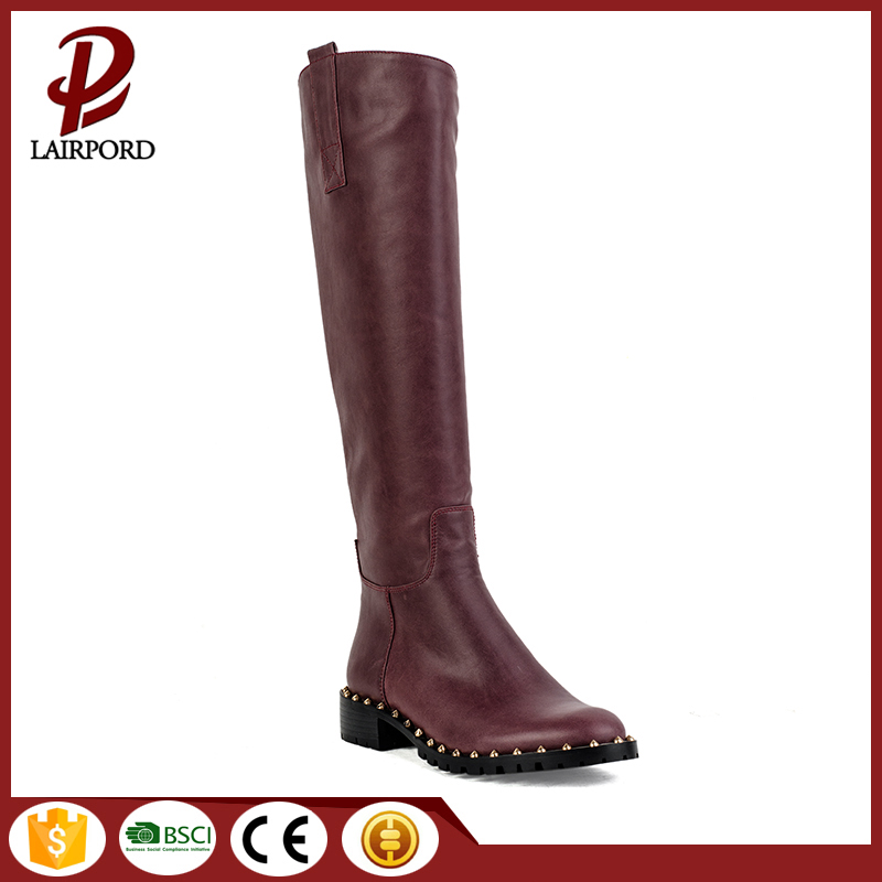red flat women rivet boots with fur