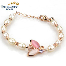 Gold Plated Butterfly 7mm AAA Rice Real Natural Freshwater Pearl Bracelet