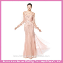 LE0007 Pink color sheer long sleeve embroidery beads new evening gown party dress mermaidjapanese prom dress exotic prom dresses