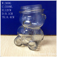 New Style Bear Shape Glass Bottles with Tin Lids 350ml