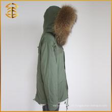 Mujeres Invierno Multi Color Real Raccoon Chaquetas Coat Warm Fox Fur Parka