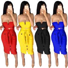 New Season Customized Tube Top Deep V Strap Design Bodycon Sexy Fashion Cheap Ladies Night Club 2 Piece Dress Set