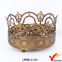 Antique Gold Metal Crown Candle Holder
