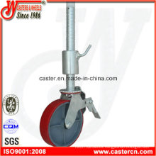 8 Inch PU Scaffold Caster with 500mm Threaded Stem