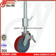 8 Inch PU Scaffold rodízio com haste roscada de 500 mm