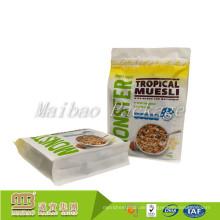 Gewohnheit druckte wiederversiegelbares Reißverschluss-Lebensmittel, das Plastikseitenfalten-flaches quadratisches unteres Doypack verpackt