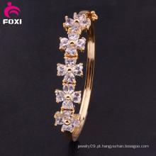 Novo Charm Coração Cristal CZ Bangle Pulseira Plated De Ouro De Moda