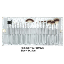 16pcs gray plastic handle animal/nylon hair makeup brush tool set with light gray satin case