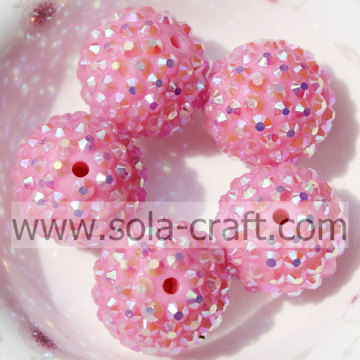 Roze AB 20 * 22MM Solid Rhinestone losse harsparels DIY Sieraden accessoires