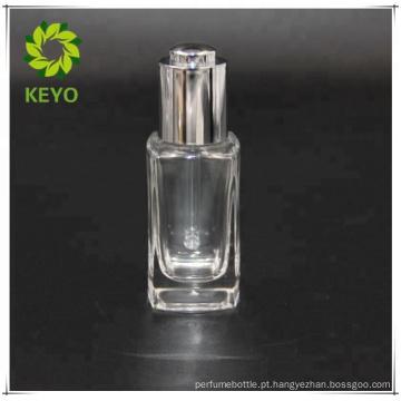 15 ML de vidro branco fosco conta-gotas de prata branco frasco de conta-gotas de borracha tela de impressão para óleo essencial de cosméticos