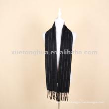 pañuelo de lana a rayas negro para hombres