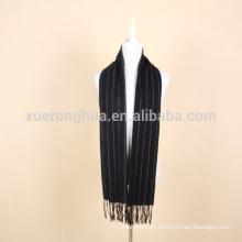 lenço de lã listrada preto para homem