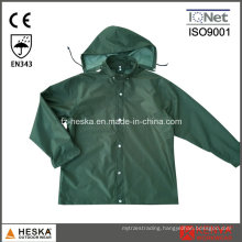 PVC Waterproof Mens Hooded PVC Rain Jacket