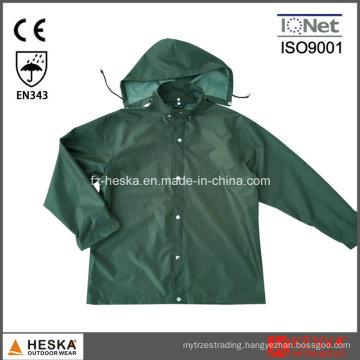 PVC Waterproof Mens Hooded PVC Rain Jacket