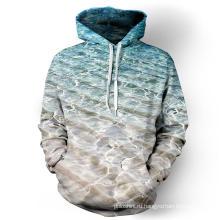 Зима 3D Сублимированный однотонный пуловер толстовка с капюшоном