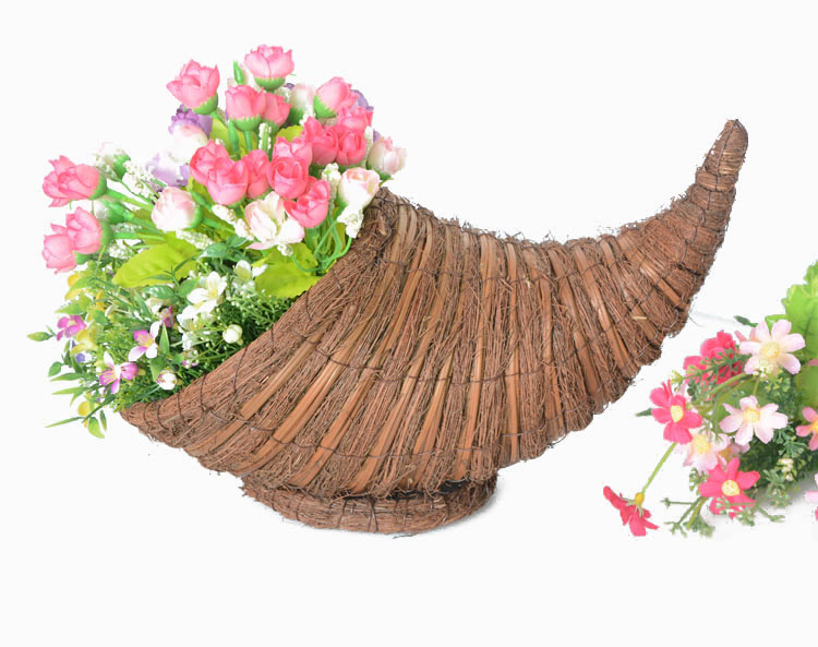 awn and broom leaf weaving cornucopia flower basket-1