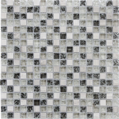 Mosaico in marmo mix di vetro incrinato