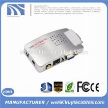 VGA para AV RCA TV Monitor S-Video Conversor de Sinal Adaptador Switch Box PC Laptop