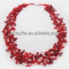 8Wire Knotted rote Koralle Chip Halskette mit Karabinerverschluss Halskette Schnittstelle