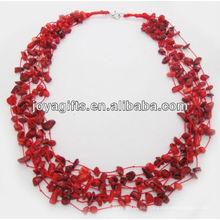 8Wire Collar atado coral rojo de la viruta con el interfaz del collar del corchete de la langosta