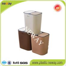 Las tapas dobles de las ventas calientes empujan el cubo de basura plástico
